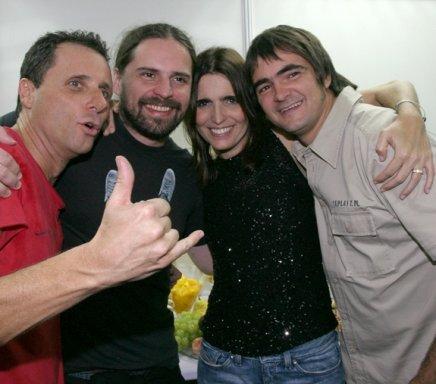 """SKY LIVE"" — TONY BELLOTTO, ANDREAS KISSER,MALU MADER E SAMUEL ROSA NO CAMARIM /Foto: Vera Donato"