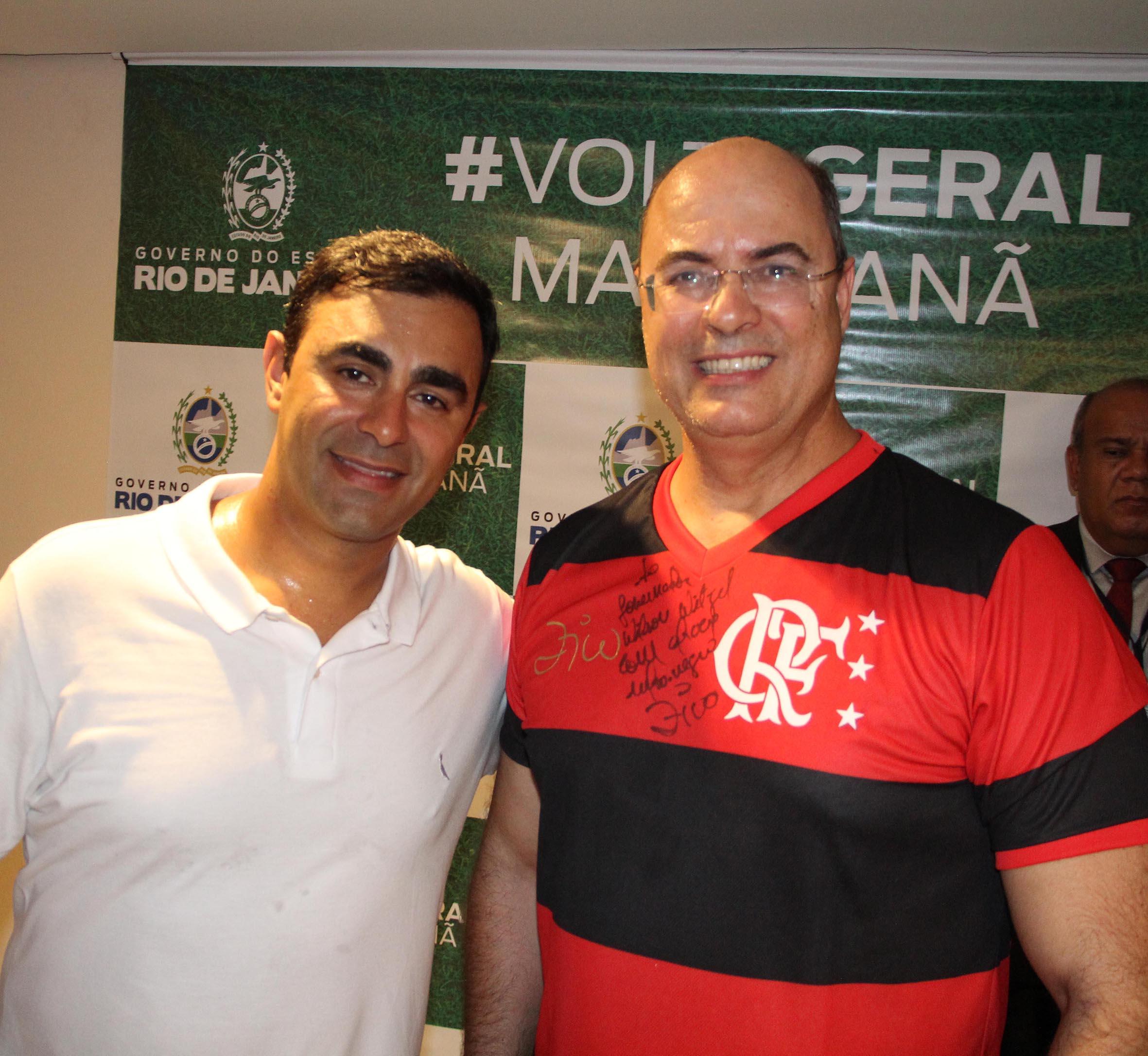 Felipe Bornier, secretário de esportes, e Wilson Witzel, governador do Rio /Foto: Paulo de Deus