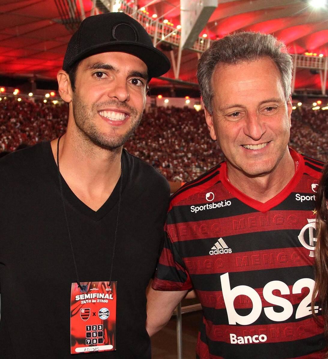 Kaká e Rodolfo Landim, presidente do Flamengo   /Foto: Paulo de Deus