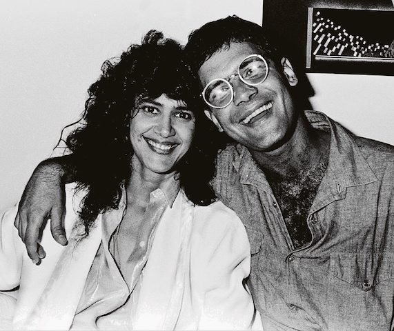 Simone com Cazuza, nos bastidores do show da cantora, em julho de 1986