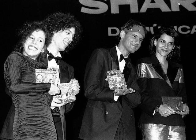 Bebel Gilberto, Dé Palmeira, Cazuza e Marina Lima durante o Prêmio Sharp de Música, no Hotel Nacional, em 1988