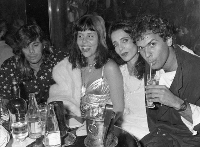 Pepeu Gomes, Baby do Brasil, Liège Monteiro e Cazuza no aniversário de Christiane Torloni, no Hippo, em 1986