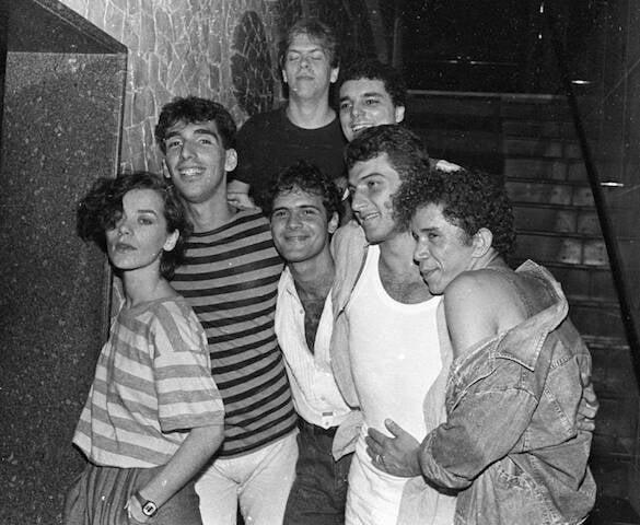 Alice Pink, Lobão, Cazuza, Zé Luis, Segneri e Nonato no aniversário de Cazuza, no Castel, e, 1986