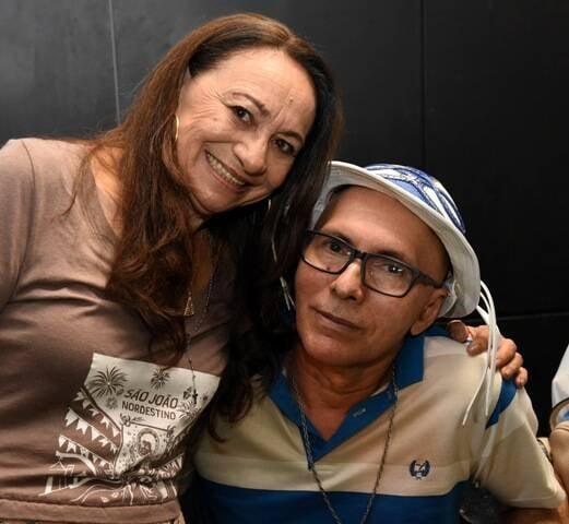 A coordenadora geral do projeto, Terezinha do Acordeon e o pesquisador musical do CD Lula do Acordeon