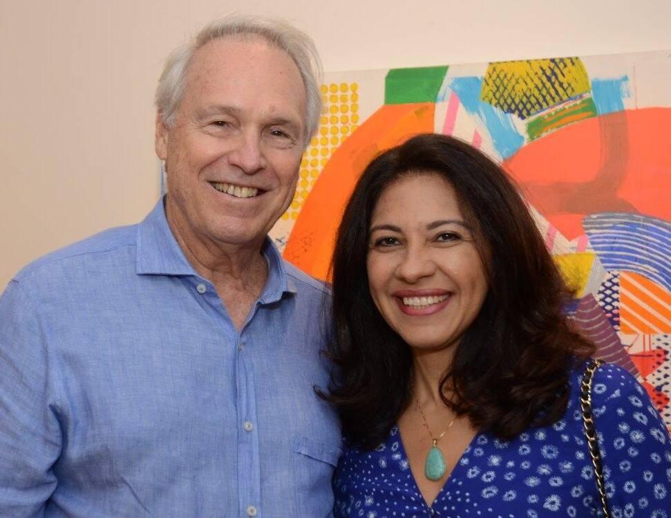 Araken e Adriana Hipólito da Costa na abertura da mostra de John Nicholson /Foto: Marco Rodrigues