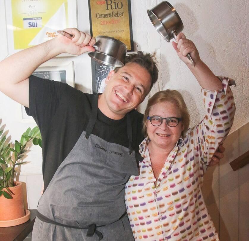 Andrea d'Egmont  com o chef Pedro Siqueira  /Foto: Gianne Carvalho