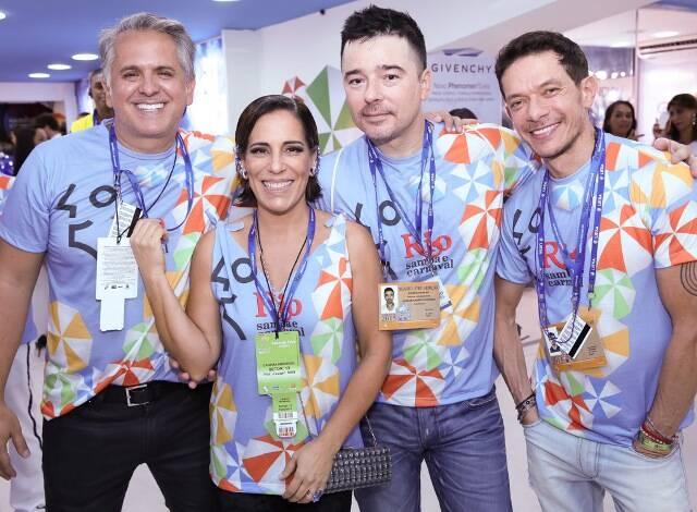 Orlando Moraes, Glória Pires, Carlos Tufvesson e André Piva no carnaval de 2015 /Foto: Arquivo site Lu Lacerda