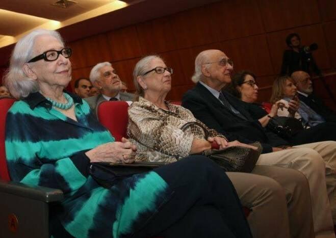 Fernanda Montenegro na primeira fila do seminário, ao lado de Mary e Zuenir Ventura  /Foto: Felipe Valentim