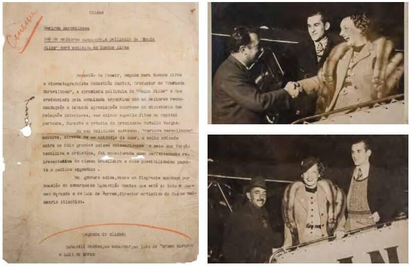 """Conjunto de duas fotos  de Carmen Miranda com Luiz de Barros na Argentina,  para exibição do filme """"Carioca Maravilhosa"""" (1935). Valor inicial R$ 800 /Foto: Reprodução"""