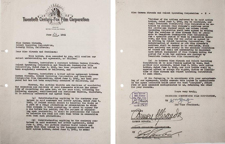 Contrato com os Estúdios 20th Century Fox assinado e datado de 26 de junho de 1941. Valor inicial de R$ 2 mil  /Foto: Reprodução