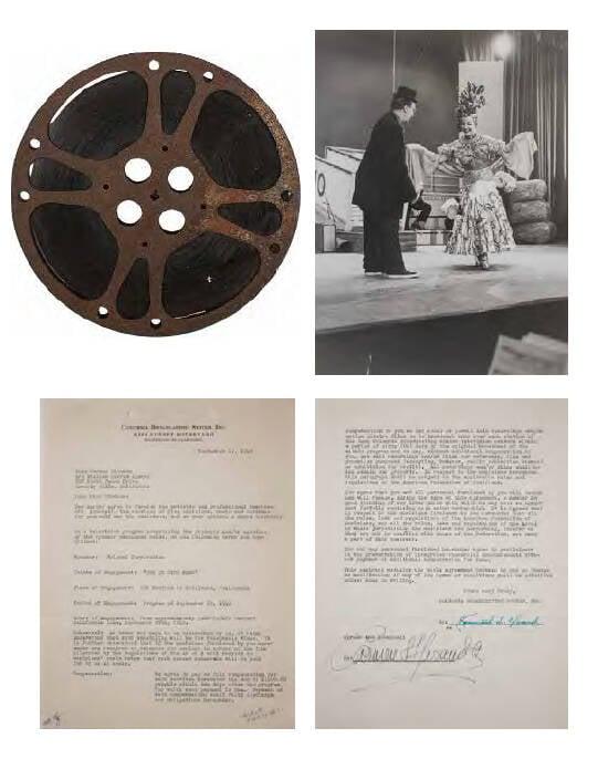 Contrato de Carmen Miranda com a CBS Americana, datado de 13 de setembro de 1949, para participação no programa de TV The Ed Wynn Show, com o filme em 16 mm completo e foto  documental. Valor inicial de R$ 2 mil /Foto: Reprodução