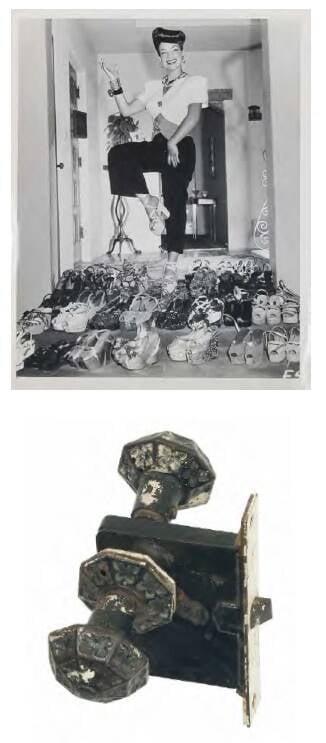 Maçaneta original do quarto principal da casa de Beverly Hills com foto documental (1940). Na década de 1980, a casa foi demolida e virou um estúdio de gravação na década de 1980. Valor inicial de R$ 800 /Foto: Reprodução