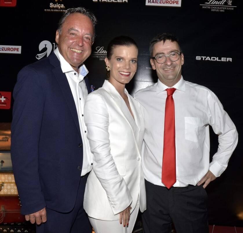 Mauro Lauber, CEO do Swiss Travel System, Christina Gläser, diretora de Turismo da Suíça e Andrea Semadeni, embaixador da Suíça no Brasil  /Foto: Cristina Granato