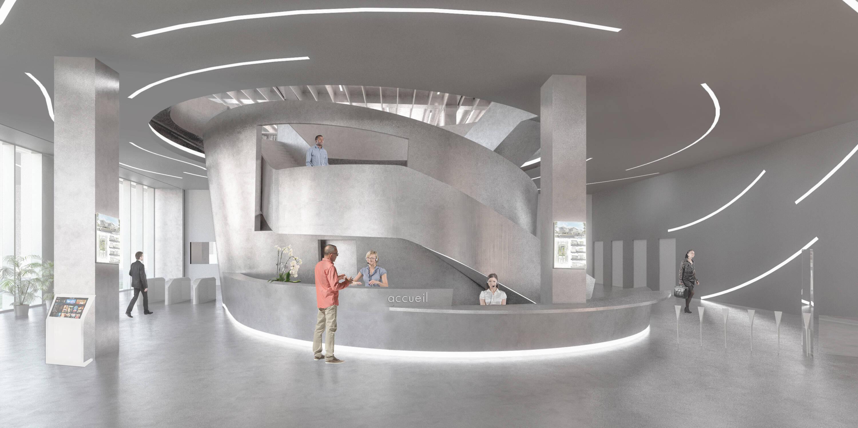 A Grande Biblioteca do Campus Condorcet, em Aubervilliers, Grande Paris – com mais de 23 mil metros quadrados de área, será o maior centro de documentação europeu em Ciências Humanas e Sociais, com 45 bibliotecas,  espaços de logística, arquivos e reservas, um auditório, café, livraria e jardins. Projeto vencedor em 2014. Entrega prevista para 2020 /Foto: Arquivo Pessoal