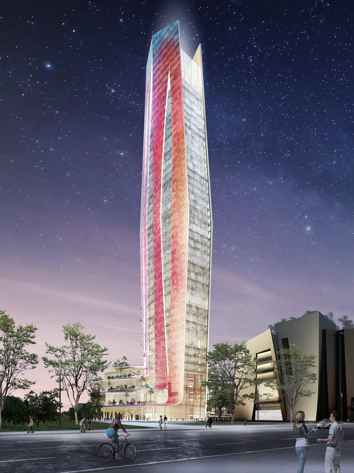 A torre vista à noite /Foto: Arquivo pessoal