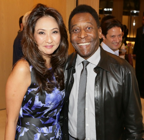 Pelé with Girlfriend Marcia Cibele Aoki