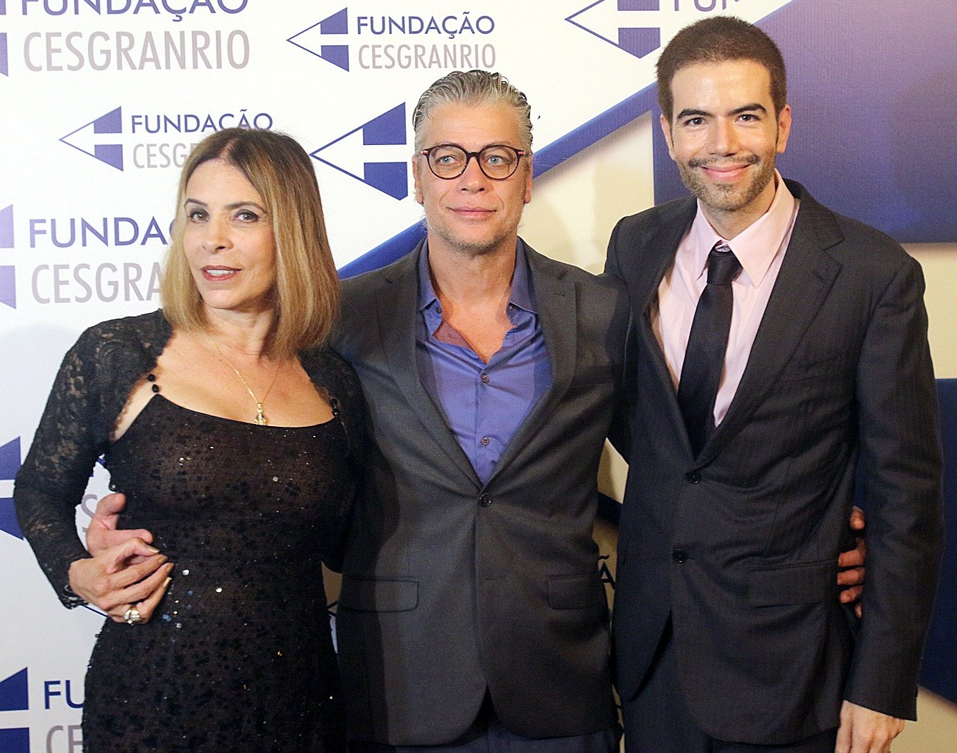 O casal Liège Monteiro e Luiz Fernando Coutinho com o ator Fábio Assunção /Foto: Eny Miranda