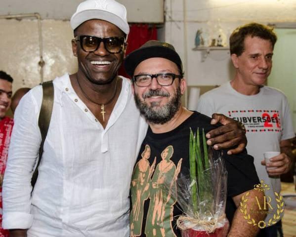 O personal trainer e produtor William Vorhees, Beto Neves e, ao fundo, o ator Luís Salem, na 16ª feijoadinha da Complexo B / Foto: Alexander Rodrigues