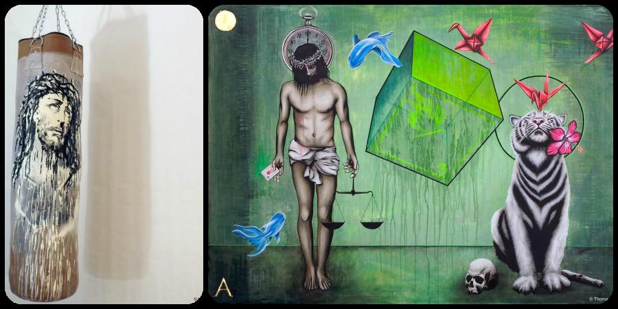 À esquerda, trabalho de Kouka: ao lado, tela de Thomas Mainardi