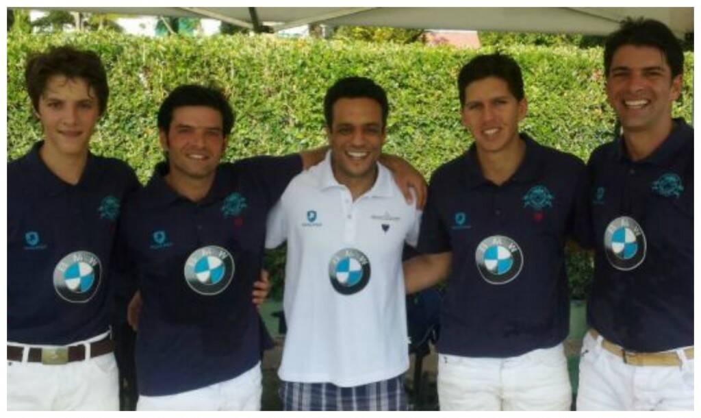 A equipe Prata Pólo: Dudu Junqueira, José Klabin, o fundador do time, Felipe Prata, Pedro Zacharias e Wolff Klabin / Foto: divulgação
