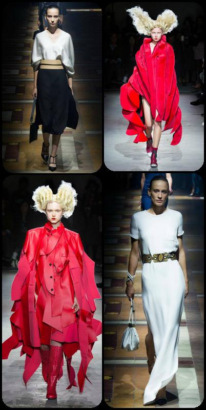 Os dois modelos em vermelho são Comme des Garçons; os outros dois, levam a assinatura Lanvin