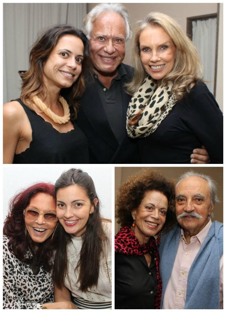 Em cima, Roberta e Roberto Tulli com Martha Surerus; abaixo, à esquerda, Tânia Caldas e a filha, Maria Cortez; ao lado, Maria Alice e José Hugo Celidonio/ Fotos: Geraldo Valadares