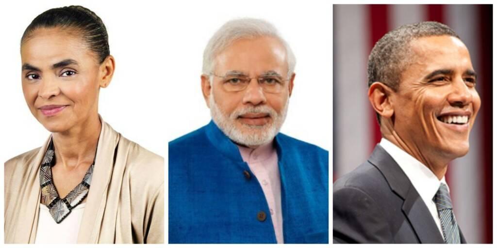 Fotos dos perfis das páginas de Marina Silva, Narendra Modi e Barack Obama no Facebook / Foto: reprodução da internet