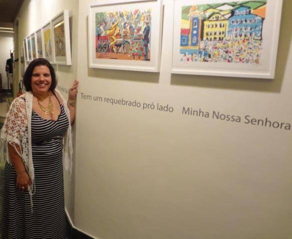 Stella Caymmi na abertura da exposição com quadros de Carybé na Fundação Cultural Hispano-Brasileira, em Madri / Foto: Rejane Guerra