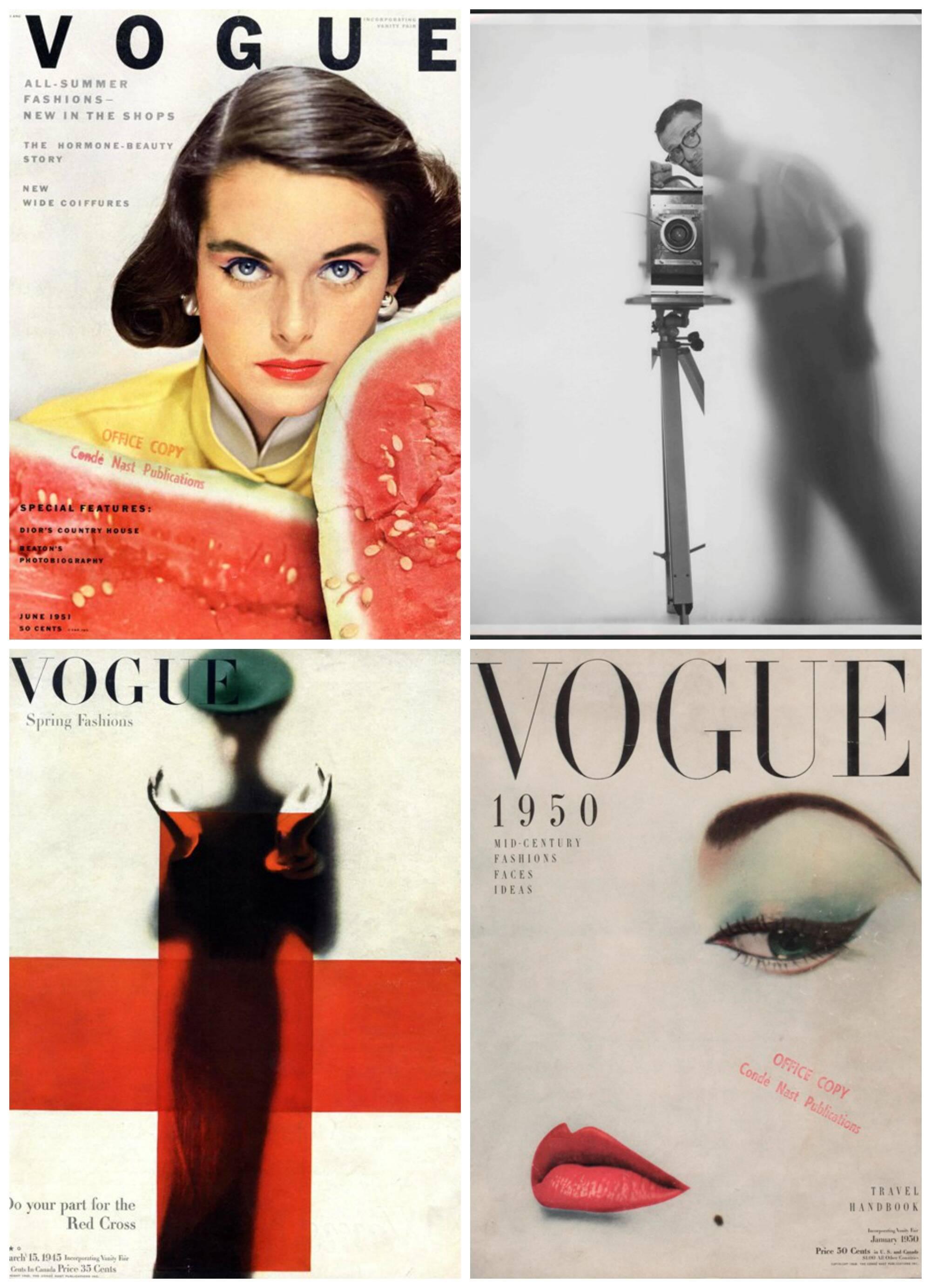 No alto, o uso de técnicas híbridas na foto de moda por Blumenfeld; acima, capas da Vogue e o próprio Erwin, em auto-retrato / Fotos: divulgação
