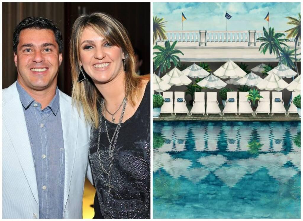 Os irmãos Claudio e Kênia Cariello e a estampa da piscina do Copa que é a base da coleção da CCM para o hotel / Fotos: Vagner Ferreira e divulgação