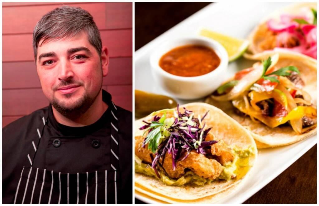 O chef Antelmo Faria e um de seus pratos: tacos de peixe baja, bife ranchero e galinha tinga / Fotos: divulgação