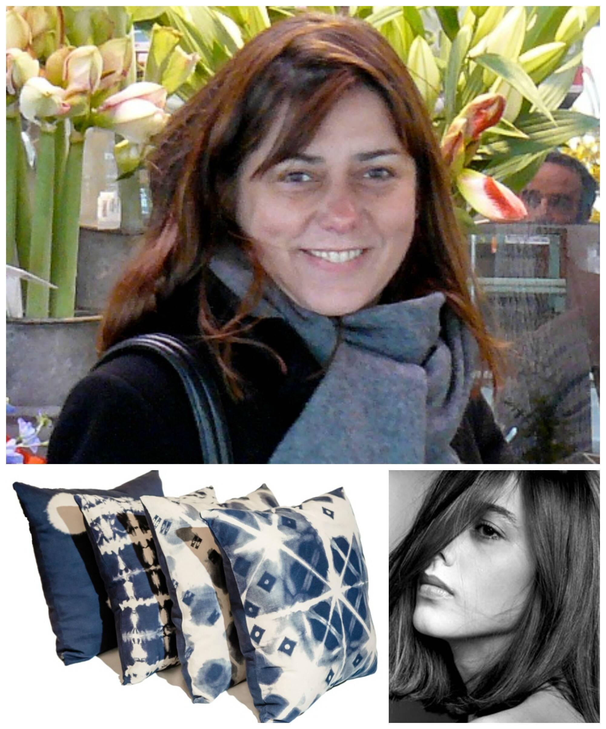 Em sentido horário, Cristina em foto recente, em imagem do seu auge no cinema nacional e seu trabalho em almofadas tingidas com a técnica shibori / Fotos: divulgação