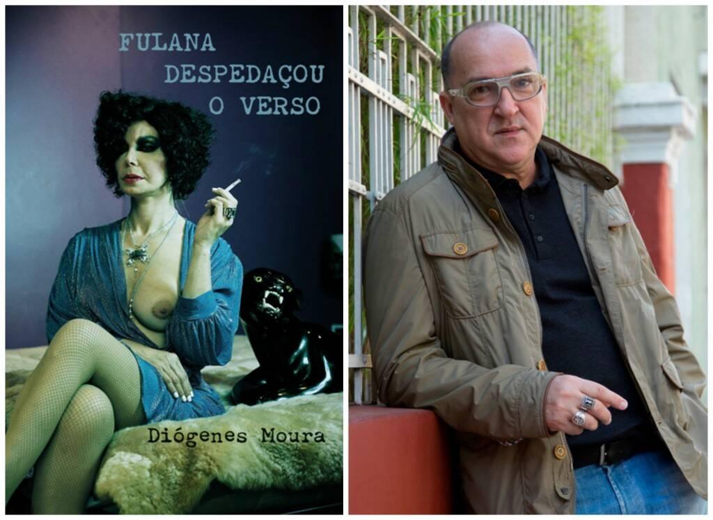 Na capa do último livro de Diógenes Moura ( à esquerda), está a foto da transexual Claudia Wonder, que era amiga do autor / Foto: Claudia Guimarães e divulgação