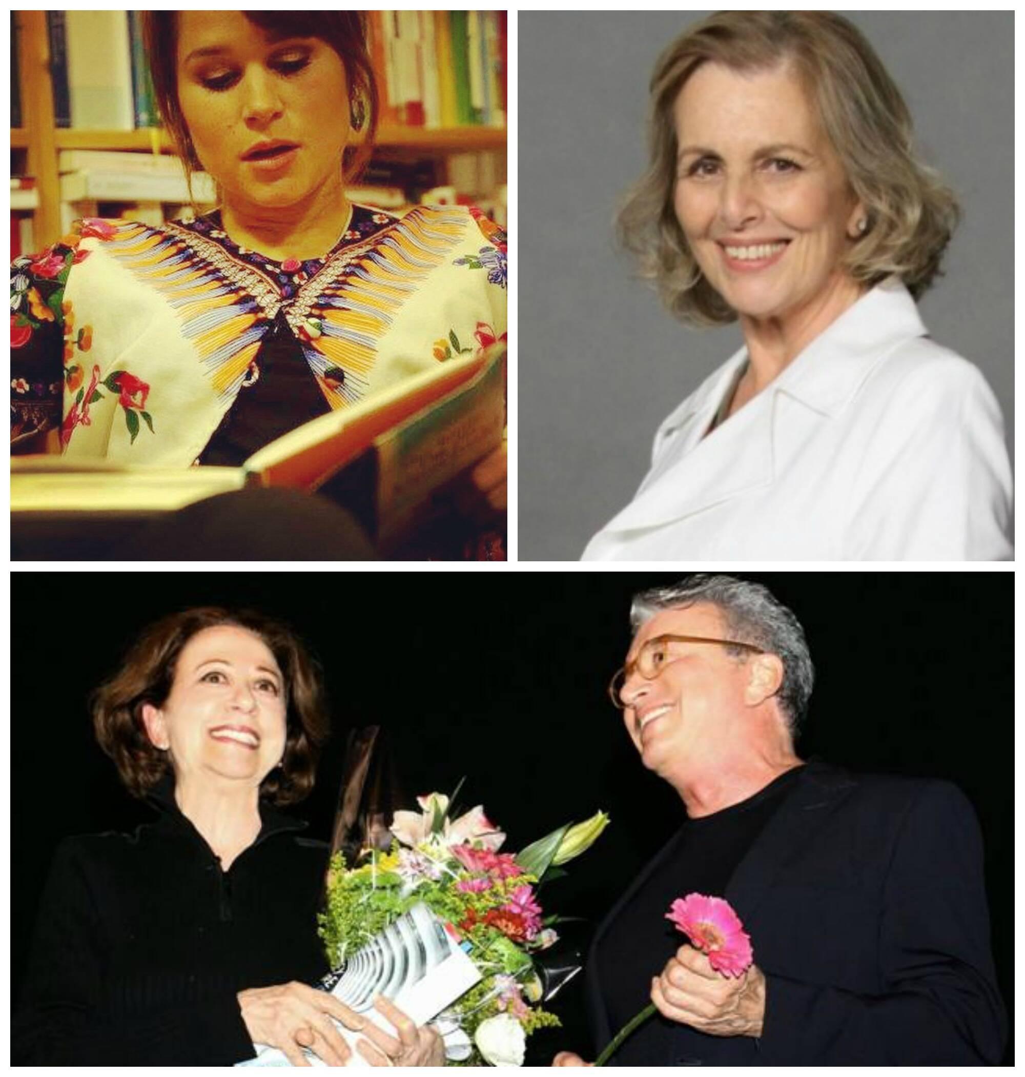 Em sentido horário, a escritora alemã Cristina do Rego; Irene Ravache; e Fernanda Montenegro e Edney Silvestre / Fotos: Vera Donato