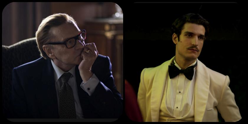 Acima, Helmut Berguer, que fez uma participação especial no filme, e, à direita, o ator Louis Garrel, no papel de Jacques de Bascher