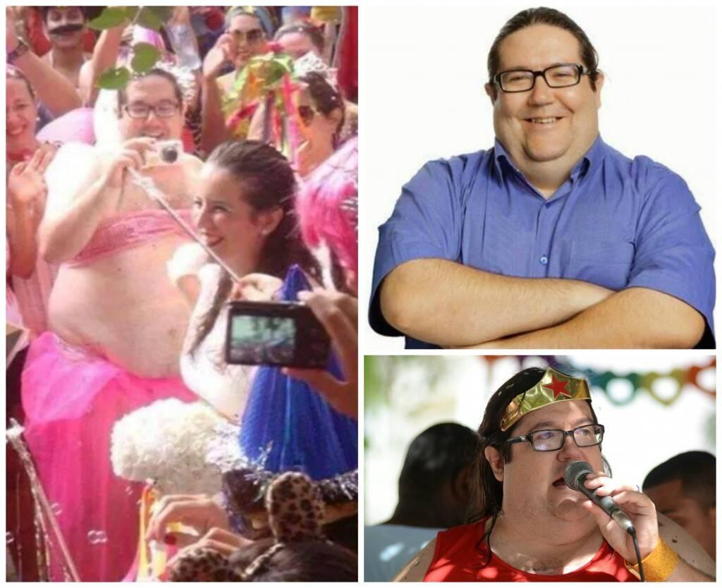 O candidato a governador do Estado do Rio, Tarcísio Motta, é um folião: não se envergonha nem um pouco de suas imagens no carnaval carioca / Fotos: reprodução da internet