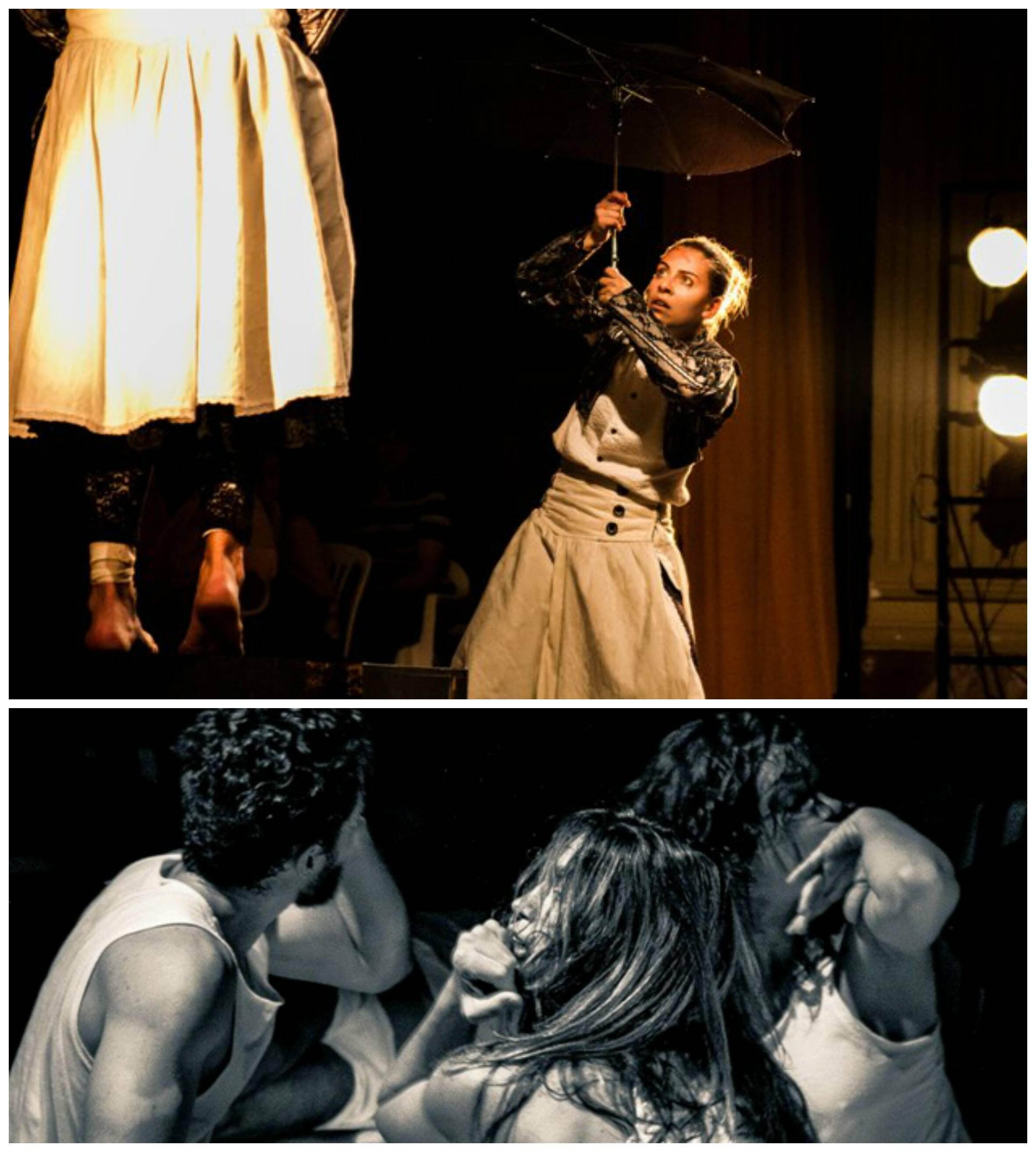 """Cenas de peças que vão ser apresentadas, com entrada franca, no Glauce Rocha: no alto, """"Bernarda por detrás das paredes"""" e, acima, """"Insone"""" / Fotos: divulgação"""