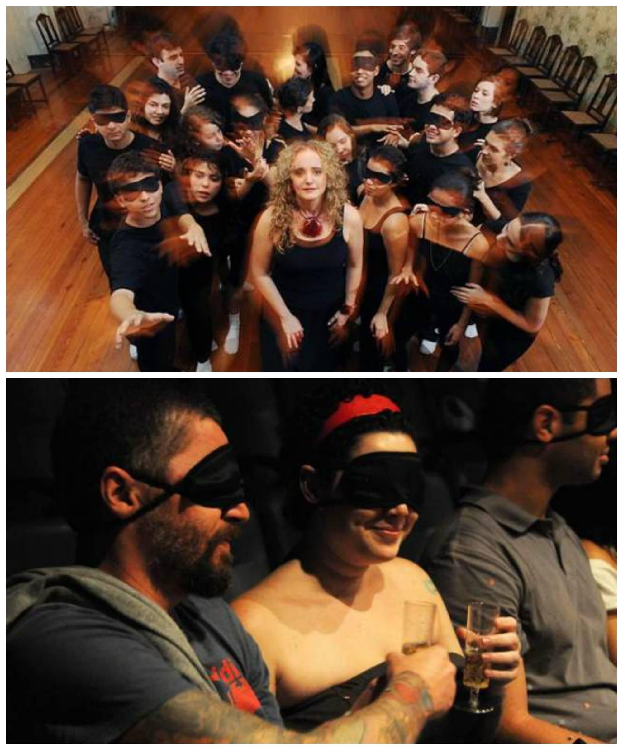 No alto, Paula Wenke e seus alunos do Teatro dos Sentidos; acima, a reação da plateia numa das montagens / Fotos: divulgação