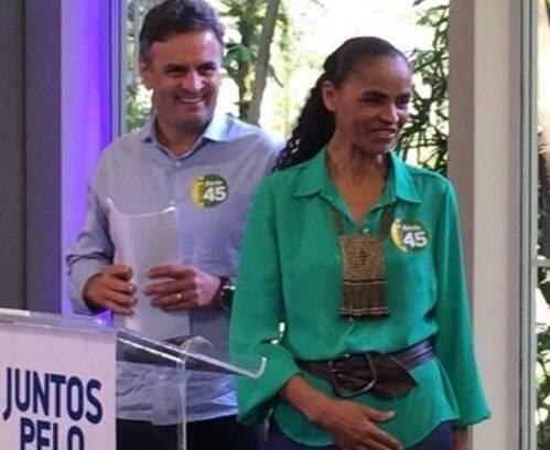 Aécio Neves (PSDB) e Marina Silva (PSB): primeiro encontro para gravar o programa eleitoral / Foto: reprodução Facebook