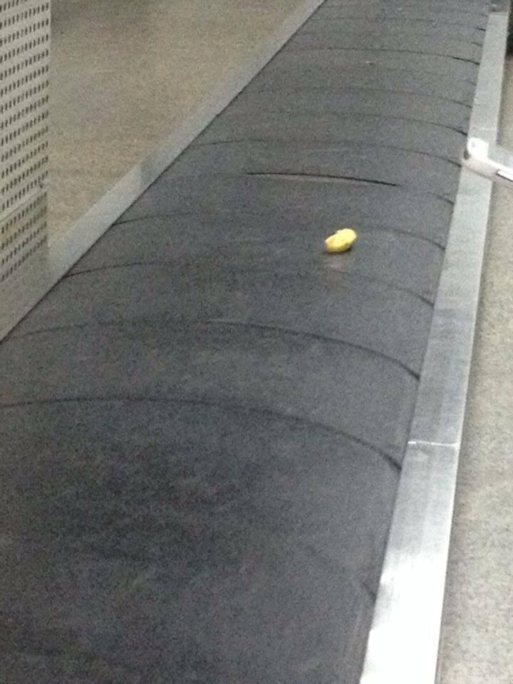 Esteira do aeroporto de Guarulhos, em São Paulo: no meio da tarde desta segunda-feira (13/10), vem uma banana no lugar da bagagem