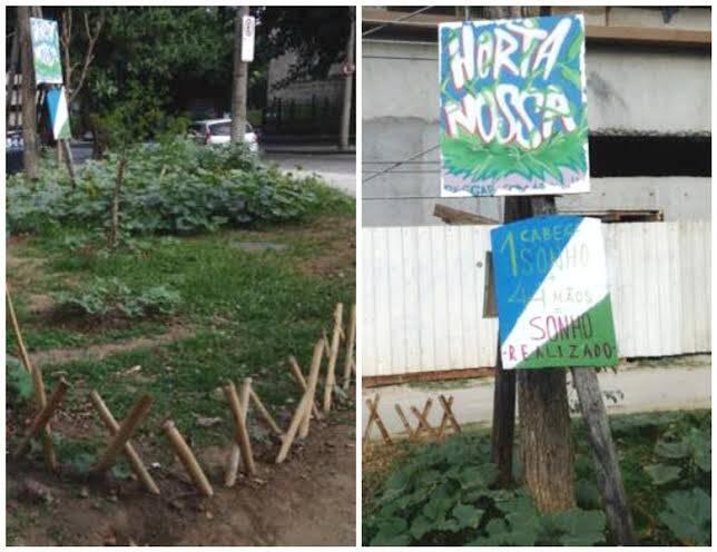 Horta na Gávea:  alunos da PUC fizeram uma horta para evitar que o prédio, em construção, invada a pracinha / Foto: moradora revoltada
