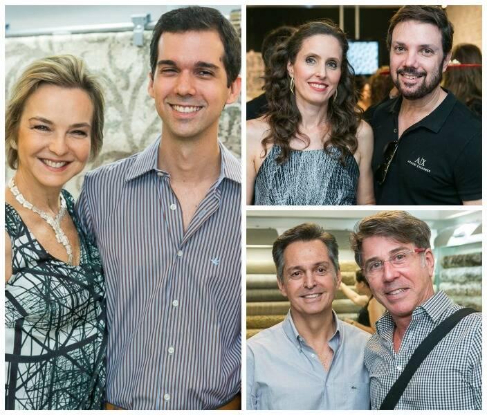 À esquerda, Bia Lettiére com o filho Santiago; ao lado, em cima,  Marcia Bergmann e Mario Costa Santos; e, embaixo, Rafael Lettiere com Jairo de Sender/ Fotos: Bruno Ryfer