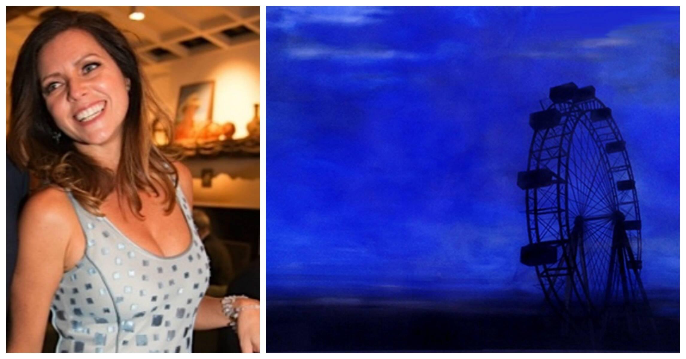 Claudia Melli e um dos seus 12 trabalhos inéditos em tinta acrílica sobre vidro / Fotos: divulgação
