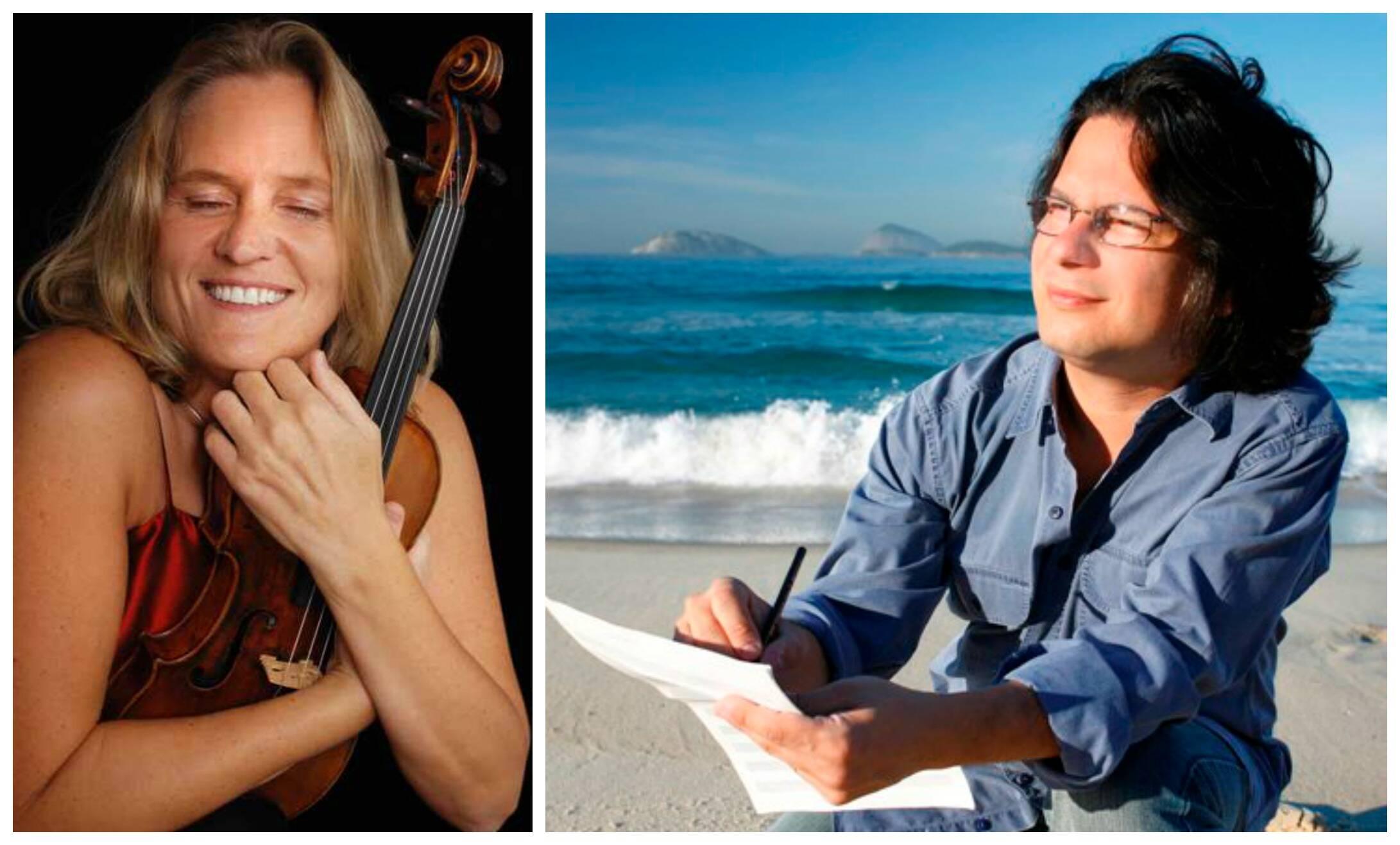 A violinista islandesa Eva Ingolf é uma das atrações do festival criado por Sergio Roberto de Oliveira, à esquerda / Fotos: divulgação