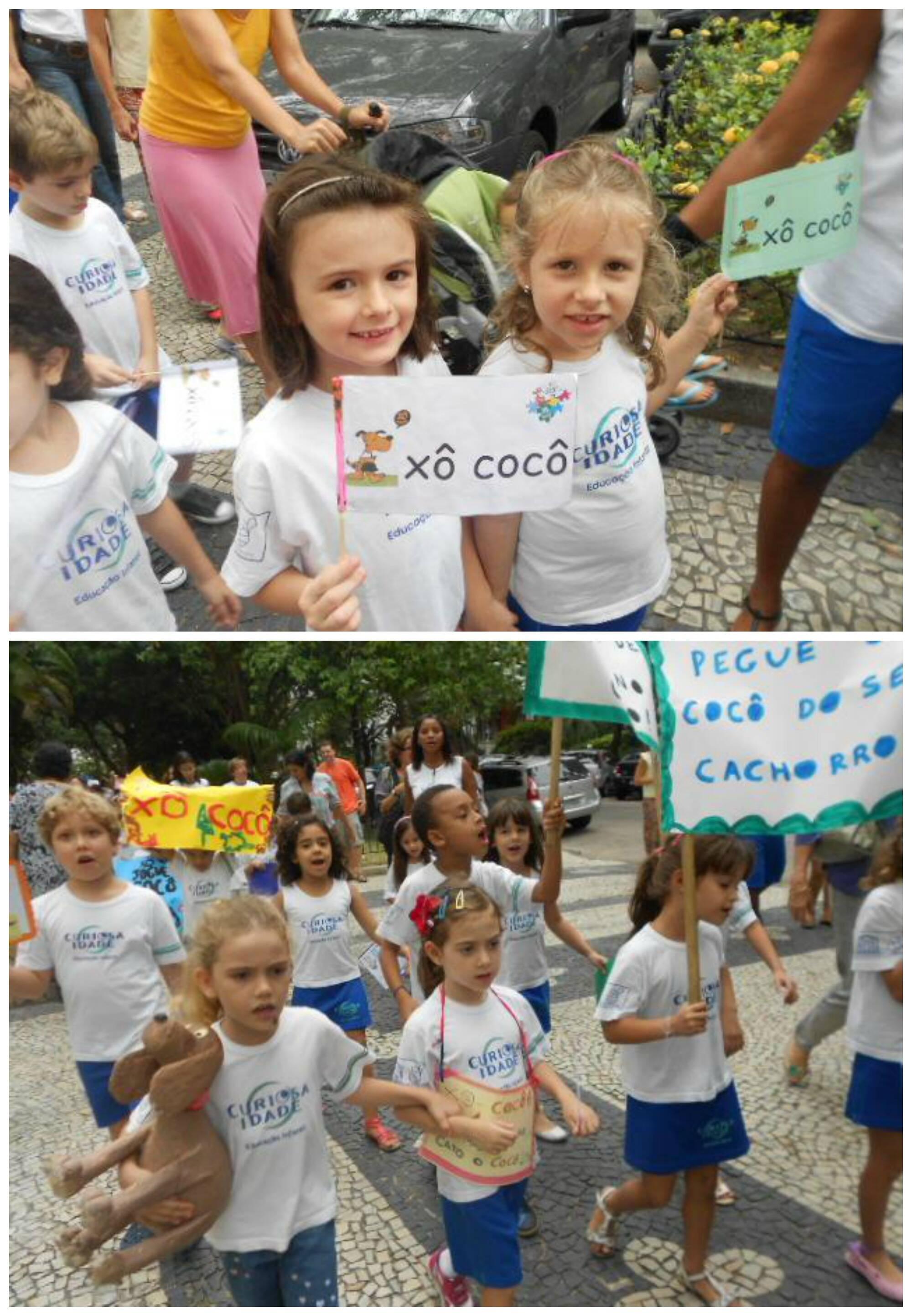 Nesta terça-feira, mais uma vez as crianças de Laranjeiras saem às ruas no seu protesto por calçadas limpas / Foto: acervo da escola Curiosa Idade