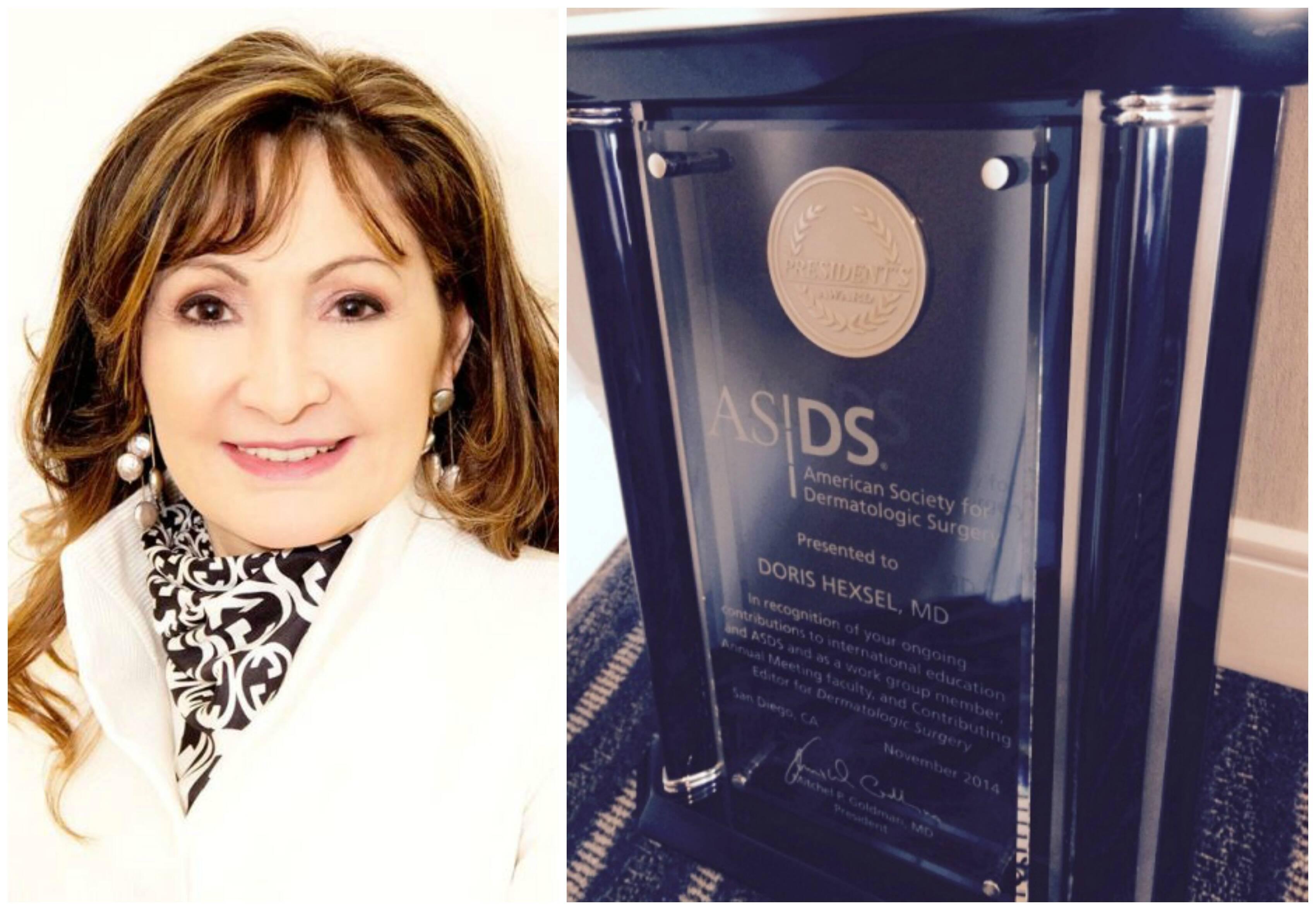 A dermatologista Dóris Hexsel e o prêmio, com seu nome gravado, concedido pela Sociedade Americana de Cirurgia Dermatológica / Fotos: divulgação