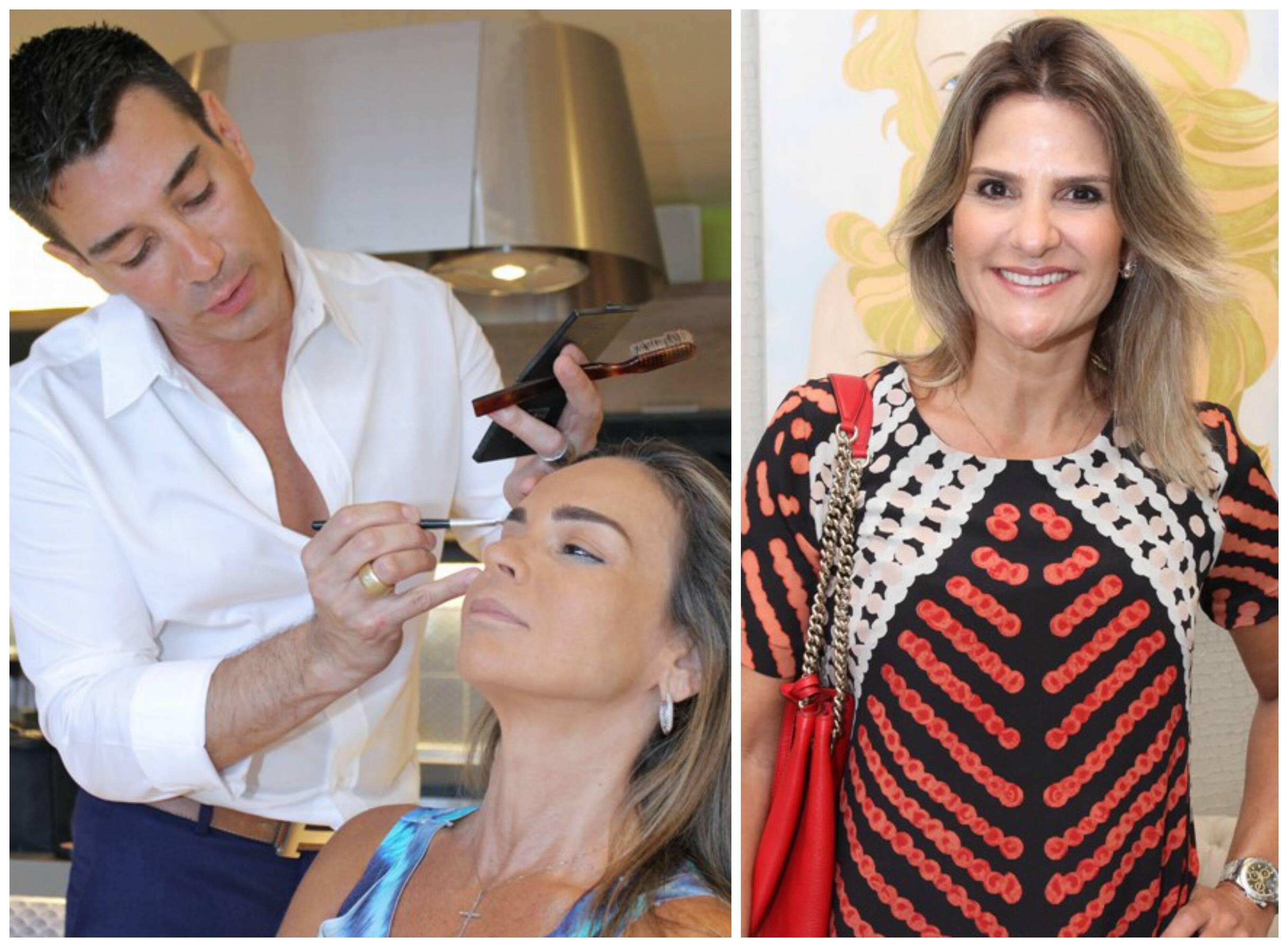 No alto, Anna Clara Herrmann, Leilah Costa e Andréa Natal; acima, Marcelo Hicho maquiando Carol Rajão; á direita, Adriana Indelli / Fotos: Vera Donato