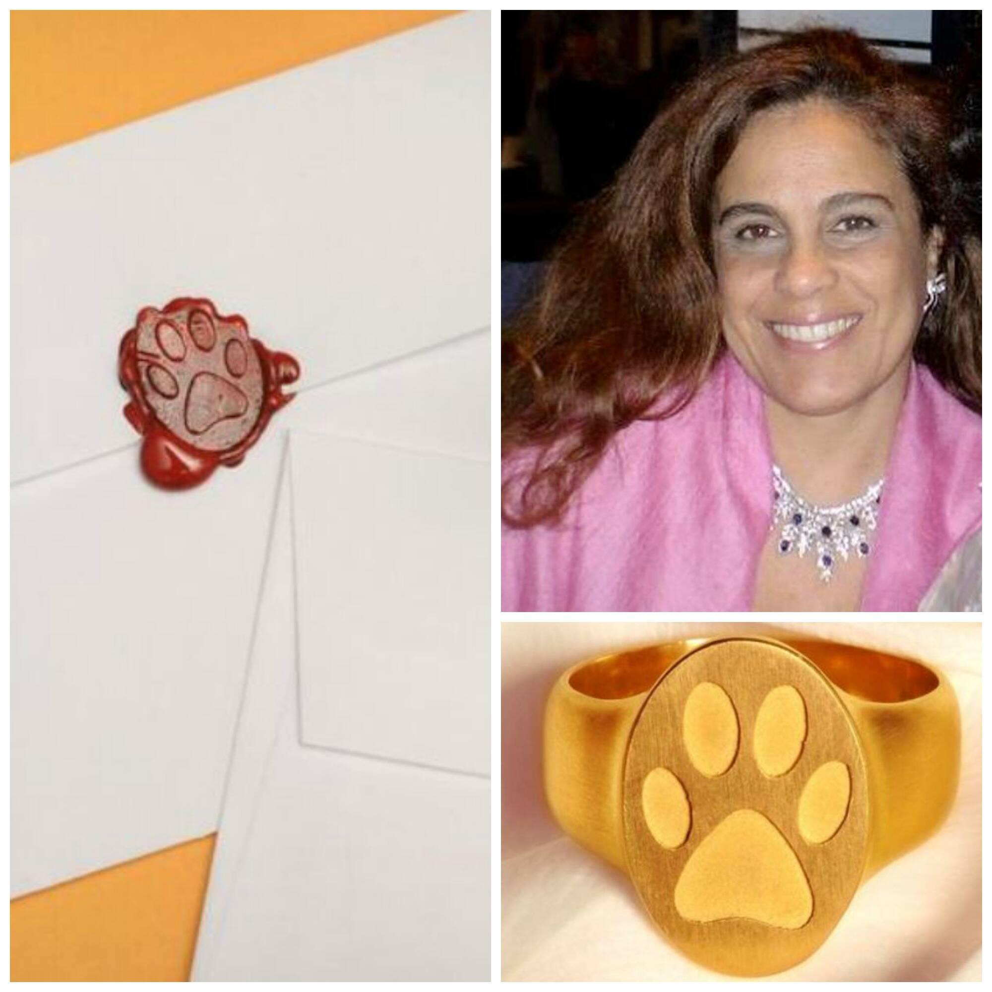 Tereza Xavier e o anel-sinete de sua nova coleção, que marca a correspondência com a patinha animal / Foto: divulgação