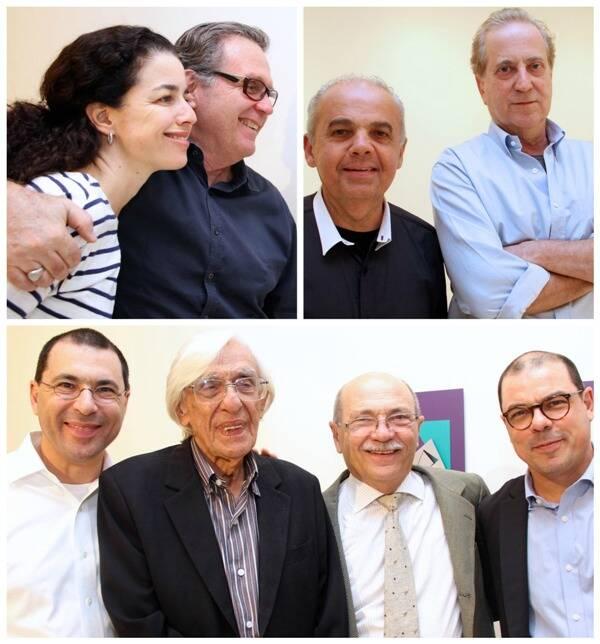 Acima, à esquerda, Claudia Marchetti e Paulo Petrarca; ao lado, Macaparana e Leonel Kaz e, embaixo, Ferreira Gullar com Ulisses, Peter e Flávio Cohn/ Fotos: divulgação