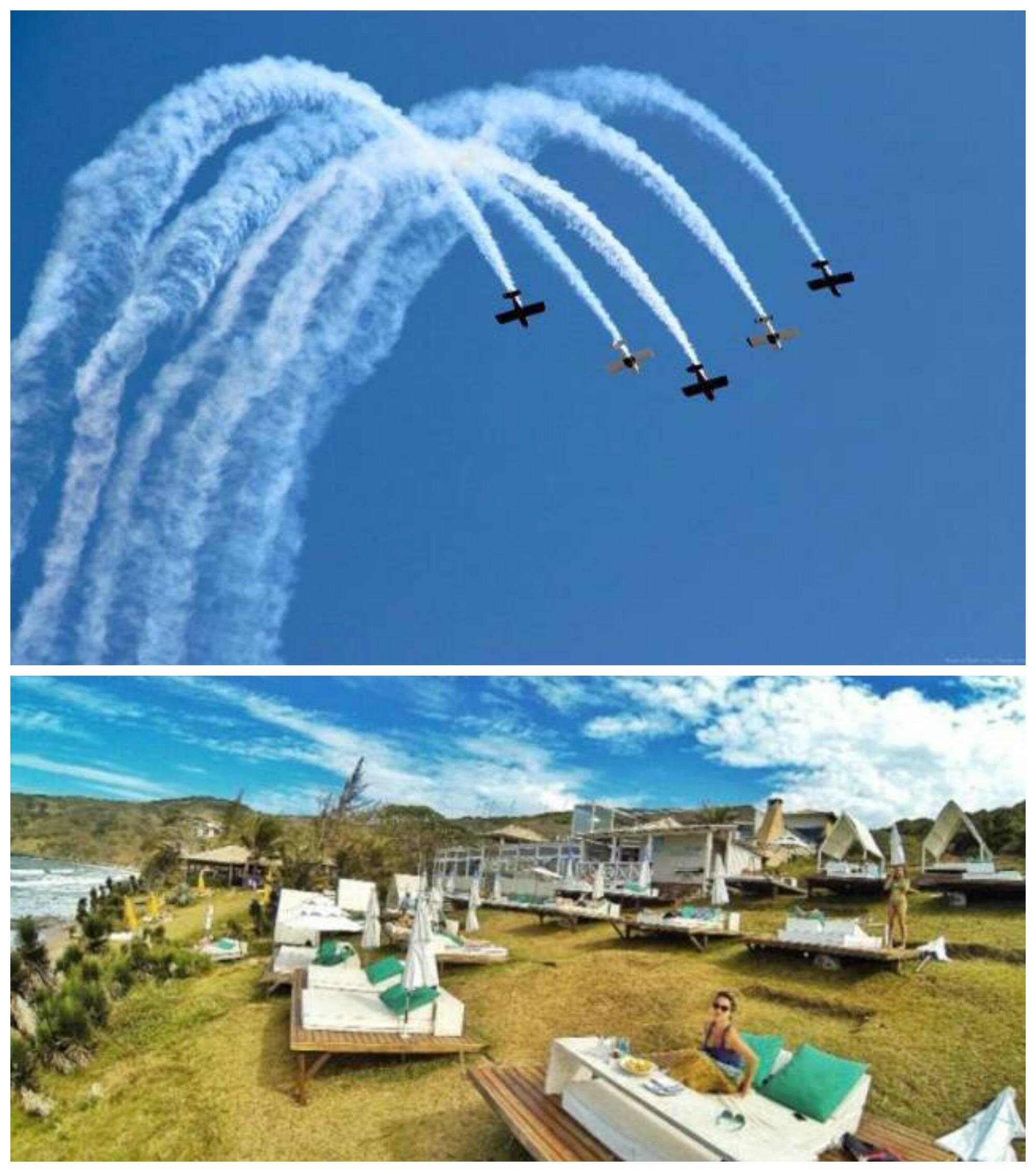 O show da esquadrilha CEU, no alto, e o Silk Beach Club, onde acontece o Lagoste-se / Fotos: divulgação